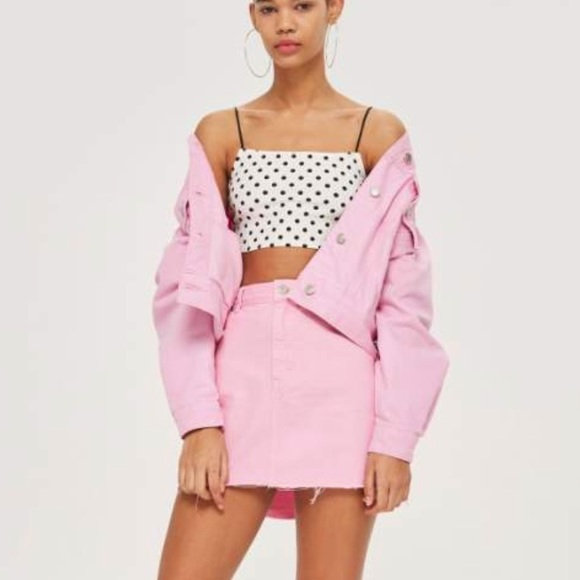 clear-cut texture promotion no sale tax Topshop Pink Denim Jacket US 6